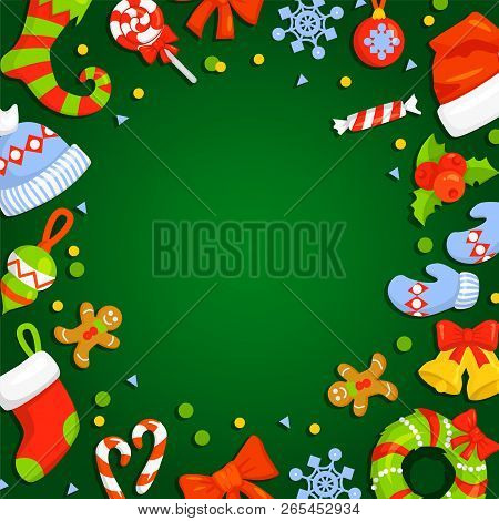 Christmas Frame With Holly Decoration. Vector Illustration. Holiday Frame. Christmas Card Poster Ban