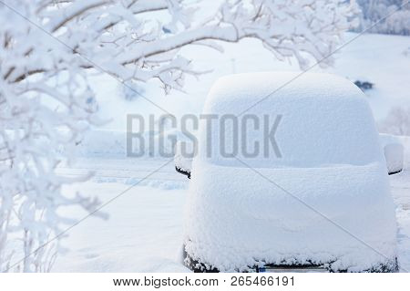 Car Covered With Snow After Winter Storm. Vehicle Parked Snowy Tree. Driveway With Family Car After