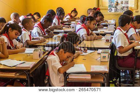 Santiago De Cuba,  Cuba - Feb 1, 2016: Children In The Classroom In The Former La Moncada Baracks, I