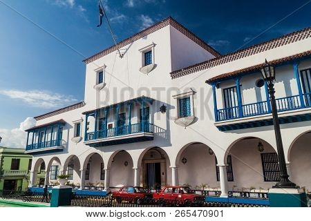 Santiago De Cuba, Cuba - Jan 31, 2016: Ayuntamiento Town Hall In Santiago De Cuba, Cuba