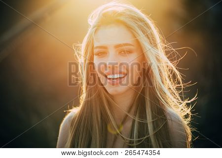 American Woman. Perfect Smile And Beatiful. Smile, Lips And Teeth. Beautiful Model Girl With White T