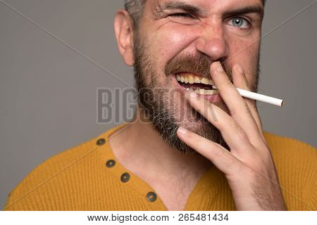 Hard drugs and nicotine addict. Human physiology concept. Stop smoking addiction poster
