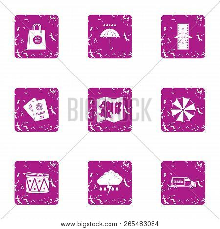 New Journey Icons Set. Grunge Set Of 9 New Journey Icons For Web Isolated On White Background