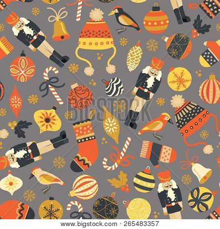 Seamless Vintage Christmas Vector Pattern Background. Nutcracker, Hat, Mitten, Stocking, Candy Cane,