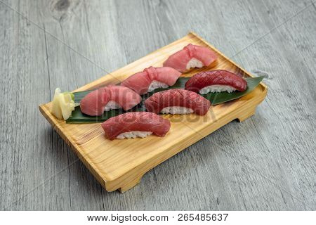 Chuoro And Fatty Akami Tuna Sushi Set On The Wooden Table, Healthy Japanese Food Concept