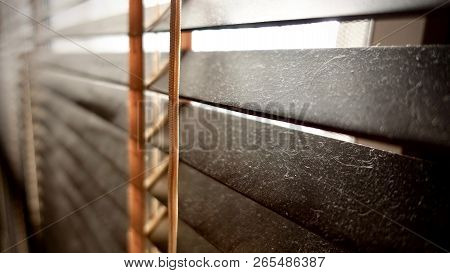 Dirty In Dust Spots Horizontal On Window Wooden Blinds Close-up. Not Good For Healthy, Should To Cle