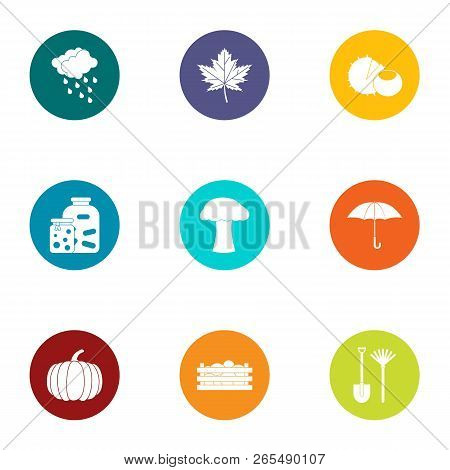 Autumn Period Icons Set. Flat Set Of 9 Autumn Period Icons For Web Isolated On White Background
