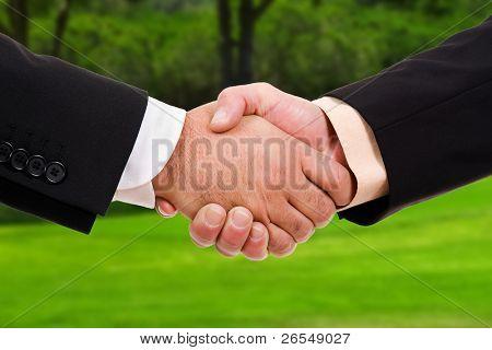 Global warming handshake - Conceptual image