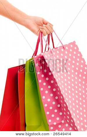 close up of weiblichen Hand halten colorful Shopping bags