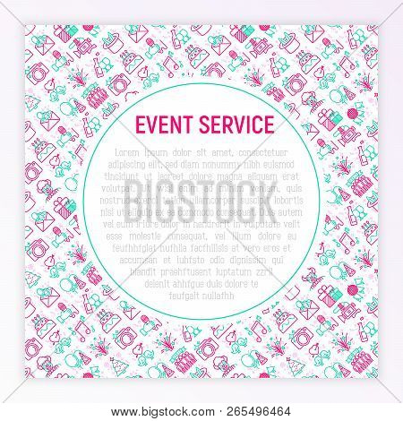 Event Services Concept With Thin Line Icons: Kids Party, Gifts, Birthday, Magician, Clown, Videograp