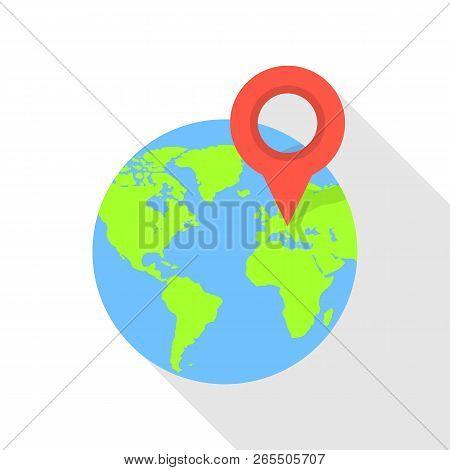 Europe Globe Pin Icon. Flat Illustration Of Europe Globe Pin Icon For Web Design