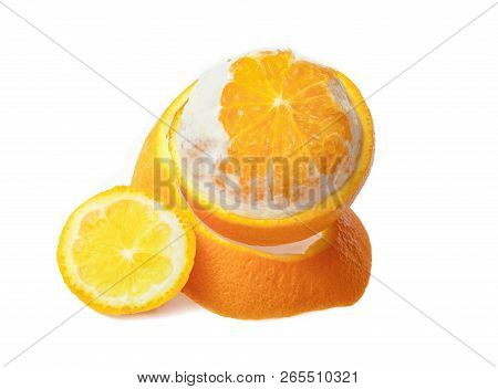 Ripe Orange Fruit Isolated On White Background
