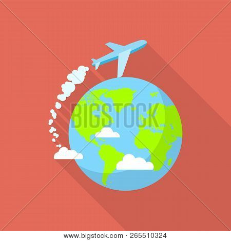 International Air Tour Icon. Flat Illustration Of International Air Tour Icon For Web Design