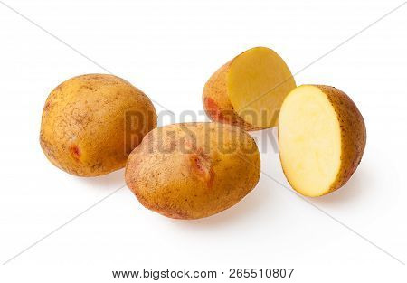 Potatoes Isolated On Background. Set Of Whole, Slices, Half Potatoes.