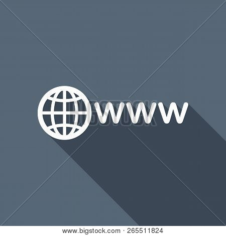 Symbol Of Internet With Globe And Www. White Flat Icon With Long Shadow On Background