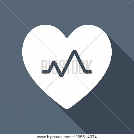 Cardiac Pulse. Heart And Pulse Line. Simple Single Icon. White Flat Icon With Long Shadow On Backgro