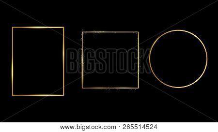 Golden Light Frame. Vector Golden Frame With Lights Effects. Shining Rectangle Banner. Set Of The Fr