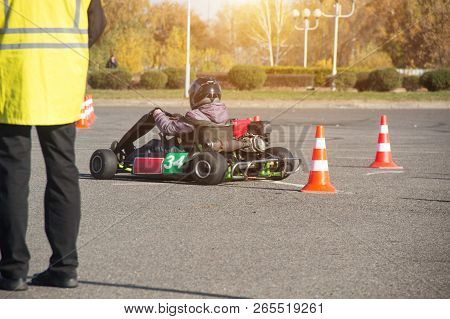 Karting Competitions, The Judge Evaluates And Puts Points To The Participants In The Karting Competi