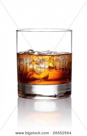 Glass of scotch whiskey and ice. With clipping path