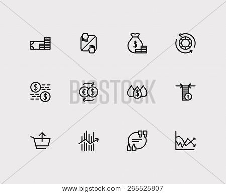 Finance Trading Icons Set. Yield And Finance Trading Icons With Quote, Liquidity And Sell. Set Of Tr