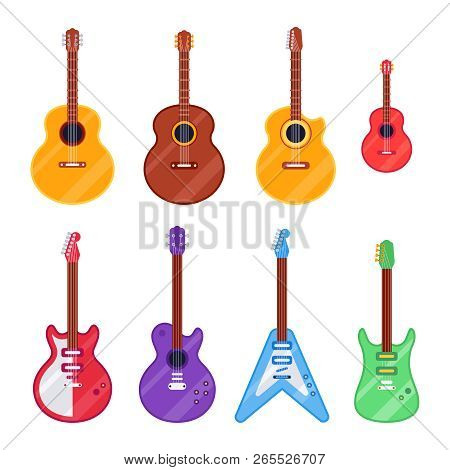 Flat Guitar Instrument. Ukulele, Acoustic Classical And Rock Electric Guitars. String Music Instrume