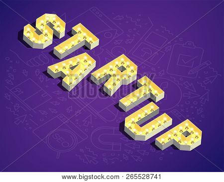 Startup. The Word Startup In Retro Style. 3d Retro Word Startup. Lamp Glow Retro Word Startup. Vecto