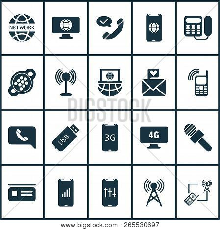 Communication Icons Set With Laptop Communication, Access Point, 4g Computer And Other Device Elemen