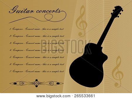 Guitar Concerts Program Template With Black Guitar Silhouette, Sample Text, Calligraphic Ornament An