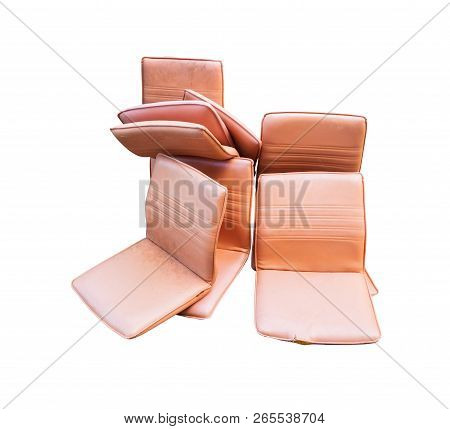 Office Chair Leather Brown Old Damage Dirty Heap Isolated On White Background And Clipping Path