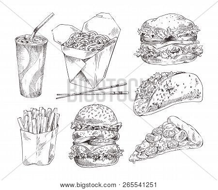 Fast Food Types Icons Set. Cheesy Pizza And Taco, Noodles In Box And Drink In Paper Glass, Hamburger