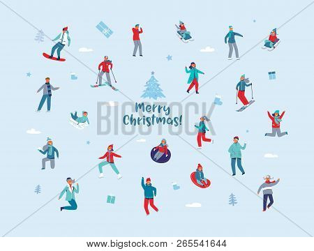 Winter Holidays Characters. Happy People In Different Winter Activities Skiing, Snowboarding, Ice Sk