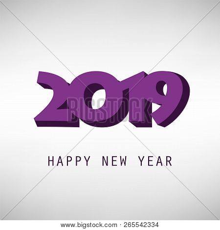 Simple Purple And Grey New Year Card, Cover Or Background Design Template - 2019