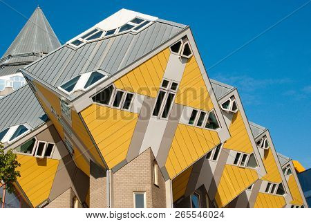ROTTERDAM - APRIL 29, 2017. Yellow Cube houses in Rotterdam, summer daytime, Netherlands. Cube house