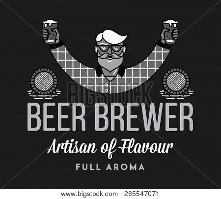 Beer Brewer Full Aroma White On Black Is A Vector Illustration About Drinking