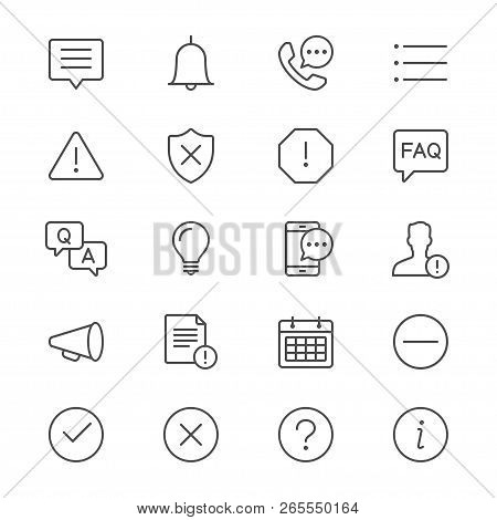 Information And Notification Thin Icon Set. Simple Vector Icons. Clear And Sharp. Easy To Resize.