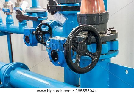 Control Wheel Of The Centrifugal Water Pump For Distribution The Water Supply In The Water Filtratio