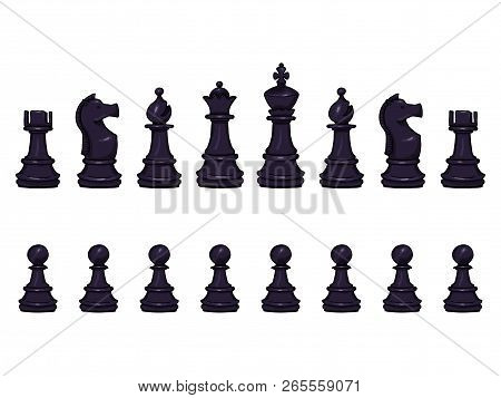 Vector Set Of Cartoon Black Chess Pieces.