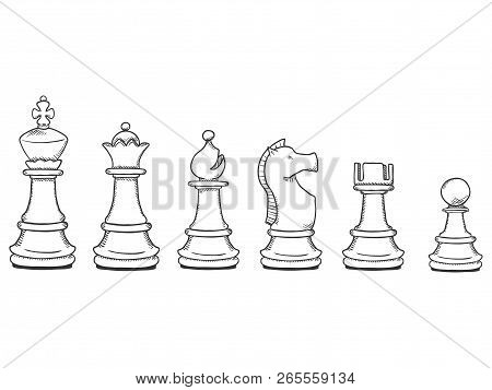 Vector Set Of Black Sketch Chess Pieces. From Pawn To King.