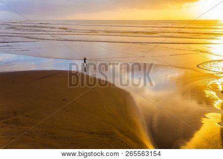 Phenomenal sunset on the beach near Auckland. Coast of the North Island of New Zealand. Concept of active and ecological tourism