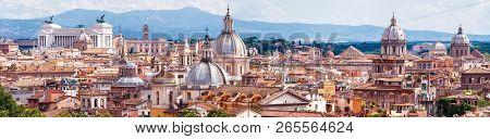 Aerial Panoramic View Of Rome, Italy. Beautiful Rome Skyline In Summer. Scenic Panorama Of Roma City