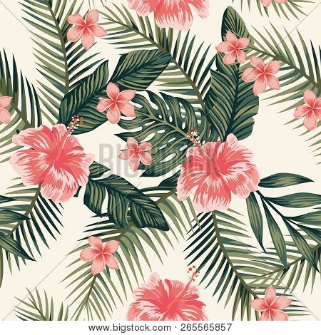 Beach Cheerful Wallpaper Hibiscus Plumeria Tropical Leaves Seamless Vector Pattern On A Light Yellow
