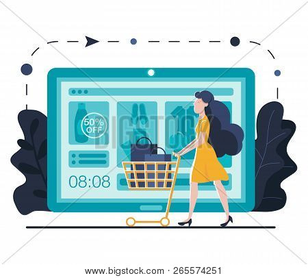 Online Shopping Landing Page Template For Website Or Mobile. Young Woman With Trolley Buys Online. S