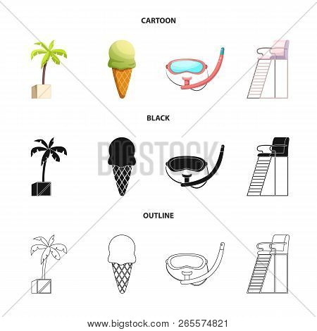 Vector Illustration Of Pool And Swimming Logo. Collection Of Pool And Activity Vector Icon For Stock