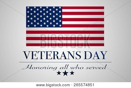 United States Flag With Text: Veterans Day