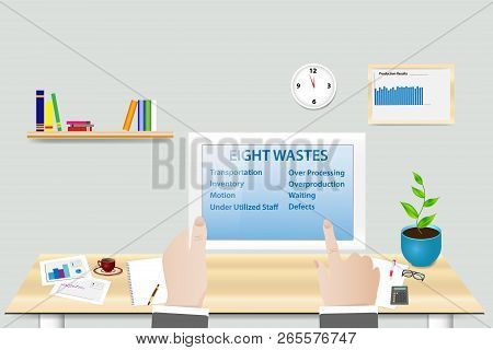 Lean Manufacturing Eight Wastes Concept Showing Manager In His Workplace Holding Tablet With Eight W