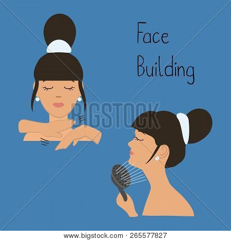 Face Building. Exercises To Maintain Facial Contours, To Avoid The Second Chin. Massaging The Chin W