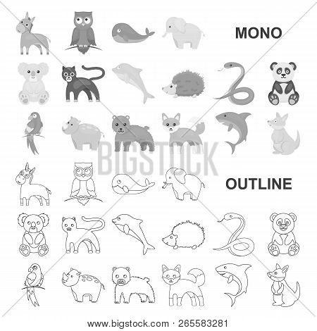 An Unrealistic Animal Monochrom Icons In Set Collection For Design. Toy Animals Vector Symbol Stock
