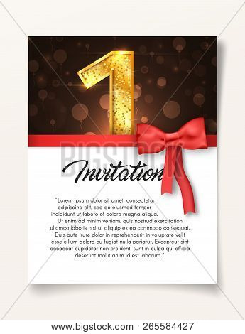 Wedding Invitation Card Template To The Day Of The First Anniversary With Abstract Text Vector Illus