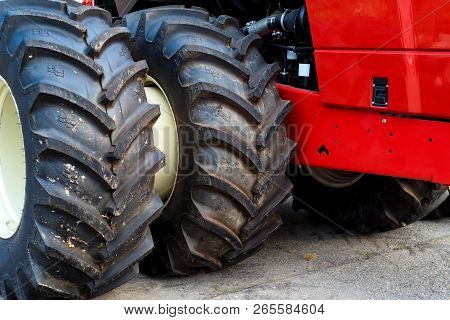 Close Up Brand New Tractor Tires At Industrial Factory