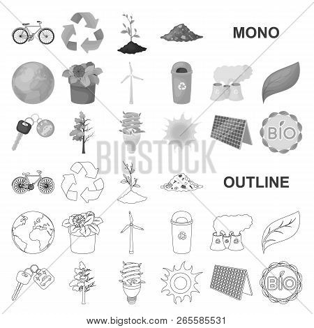 Bio And Ecology Monochrom Icons In Set Collection For Design. An Ecologically Pure Product Vector Sy